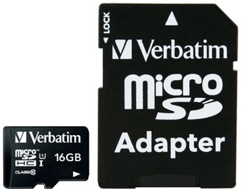 Verbatim 16GB Premium microSDHC U1 Class 10 + SD Adapter