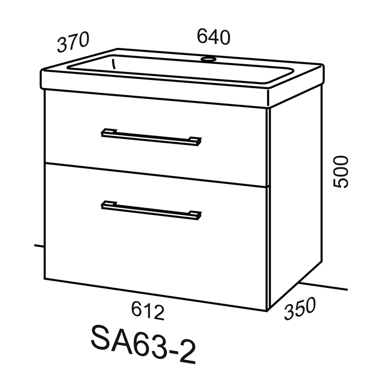 Vonios spintelė su praustuvu Riva SA63-2