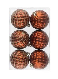 Ziemassvētku eglītes rotaļlieta, brūna, 70 mm, 6 gab.