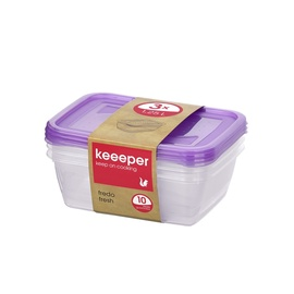 Hermetinių indeliu rinkinys Keeeper Fredo fresh, 1,25 l, 3 vnt