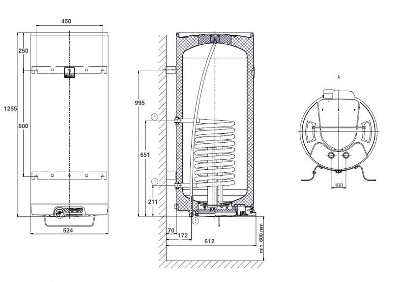 Kombinētais ūdens sildītājs - boileris Dražice OKC 160, 147 l