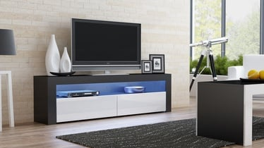 TV galds Pro Meble Milano 157 With Light Black/White, 1575x350x500 mm