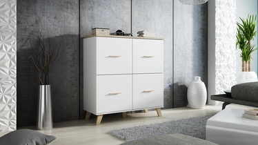 Cama Meble Lotta 110 4D Chest Of Drawers White/Sonoma Oak