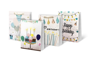 Paper Gift Bag With Glitter 31x12x40cm SCW231-ABCD-L