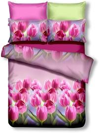 Комплект постельного белья DecoKing, зеленый/розовый, 200x200