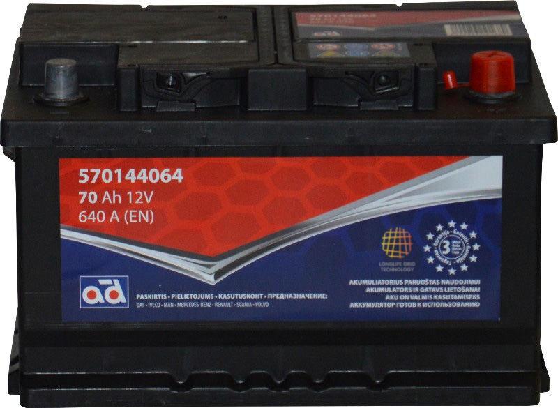Akumuliatorius AD BALTIC 570144064, 12 V, 70 Ah, 640 A