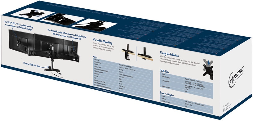 Televizoriaus laikiklis Arctic Z3 Pro Desk Mount Triple Monitor Arm