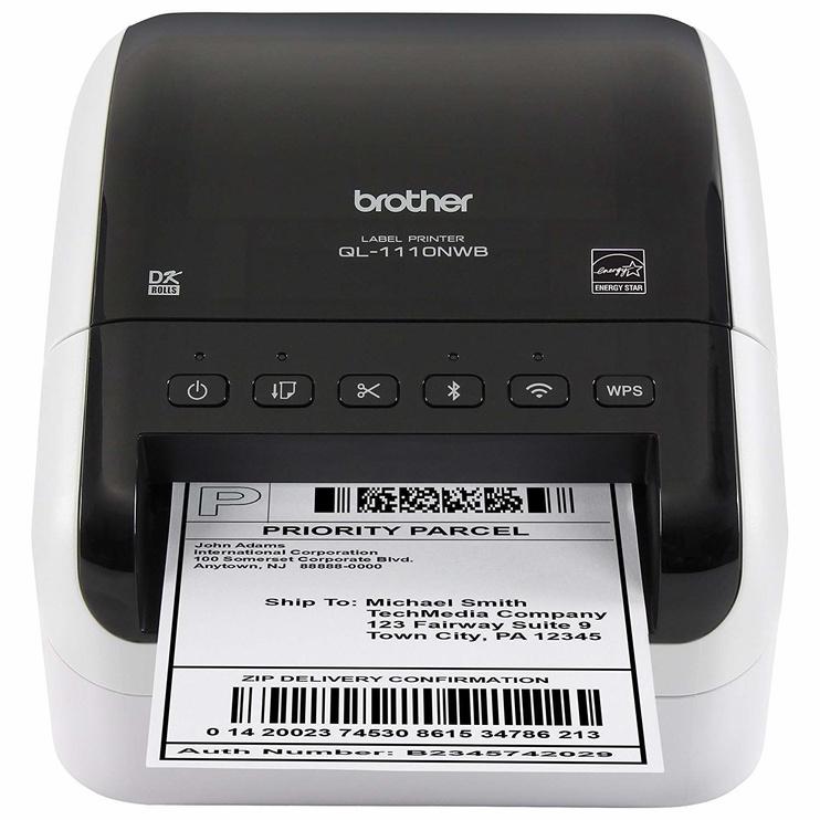 Принтер этикеток Brother QL-1110NWB, 2500 г, белый/черный