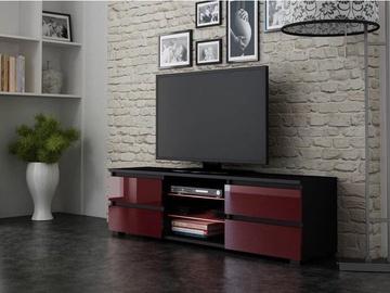 TV staliukas Pro Meble Milano 150 Black/Red, 1500x350x420 mm