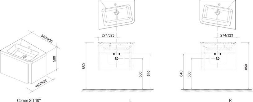 Praustuvo 10° spintelė SD 650 L Ravak, pilka