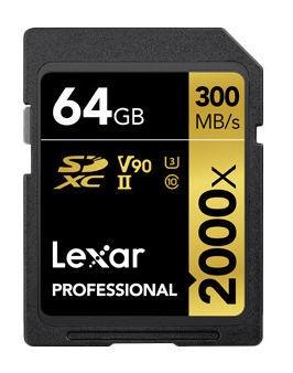 Lexar 64GB Pro SDXC Card 2000x U3 V90 w/ USB Adapter