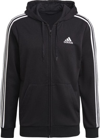 Adidas Essentials French Terry 3-Stripes Full-Zip Hoodie GK9032 Black S
