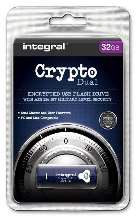 USB atmintinė Integral Crypto Dual, USB 3.0, 16 GB
