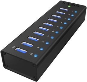 ICY BOX IB-AC6110 10x Port USB 3.0 Hub with USB Charge Port Black