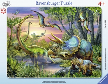 Puzle Ravensburger Frame Dinosaurs 066339, 45 gab.