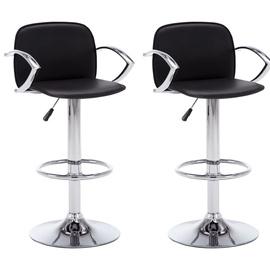 Барный стул VLX Faux Leather 246904, черный, 2 шт.