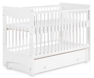Klups LUNA Cot-Cradle With Drop Side And Drawer White