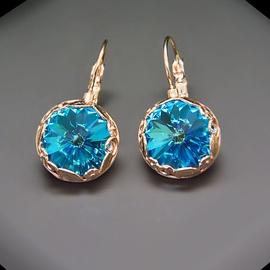 Diamond Sky Earrings With Crystals From Swarowski Sunny Garden Aquamarine Blue