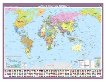 Politinis pasaulio žemėlapis, laminuotas