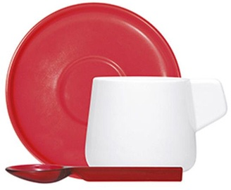 ViceVersa Set 2 Coffee Cups With Spoons Red