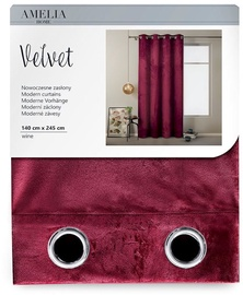 AmeliaHome Velvet Curtains Wine 140x245cm