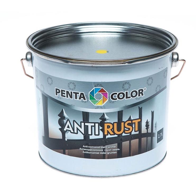Antikoroziniai gruntiniai dažai Pentacolor Antirust, geltoni, 2.7 l