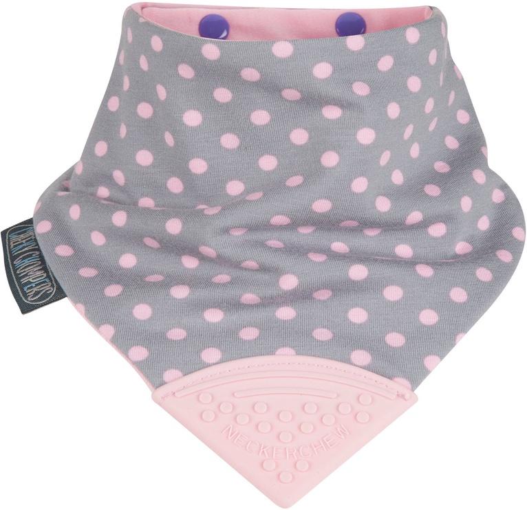 Cheeky Chompers Neckchew Teething Bib Polka Dot Pink