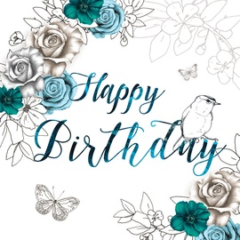 Clear Creations Blue Roses Birthday Card CL1402