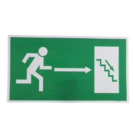 Exit Right Down Sign Sticker 240x135mm Green/White