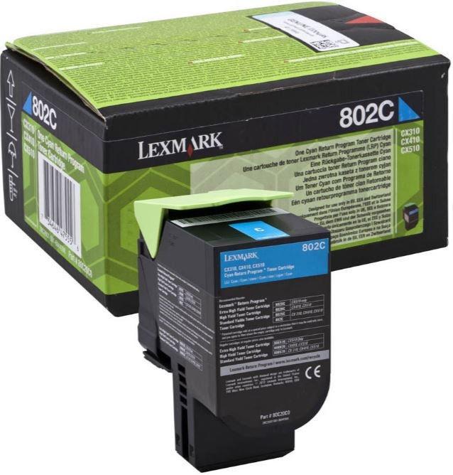 Lazerinio spausdintuvo kasetė Lexmark 802C Toner Cartridge Cyan