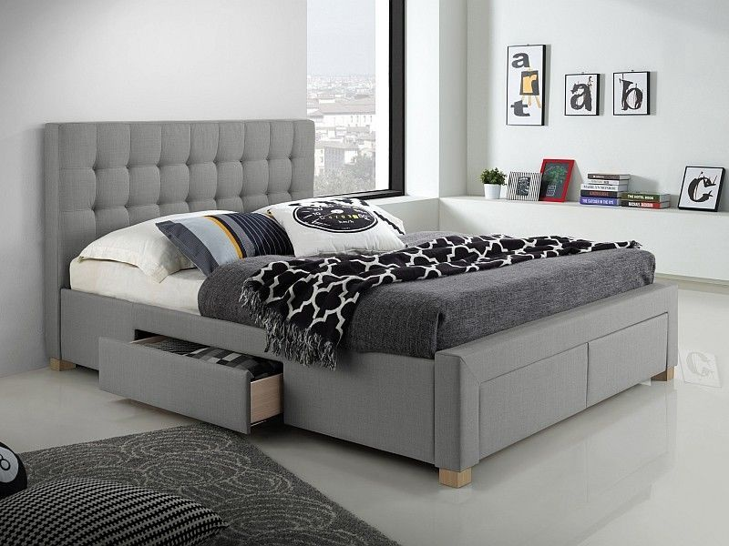 Signal Meble Bed Lincoln Grey 165x220cm