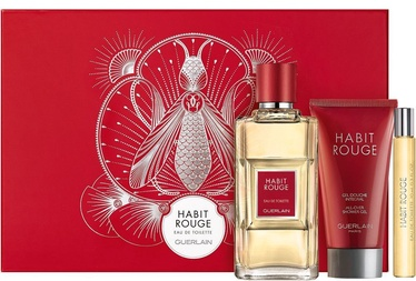 Komplekts vīriešiem Guerlain Habit Rouge 100 ml EDT + 75 ml Shower Gel + 10 ml EDT