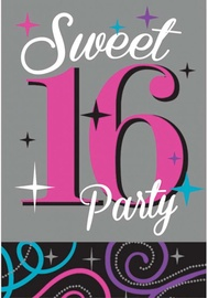 Amscan Sweet 16 Invitations & Envelopes 481466