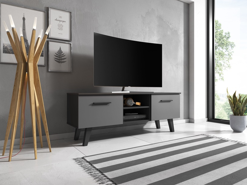 TV galds Vivaldi Meble Nord, melna/pelēka, 1400x380x520 mm
