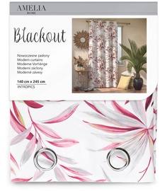 AmeliaHome Blackout Intropics Curtains Red 140x245