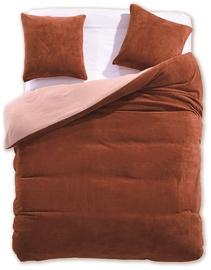 DecoKing Furry 12 Bedding Set Light Brown/Cream 200x200/80x80 2pcs