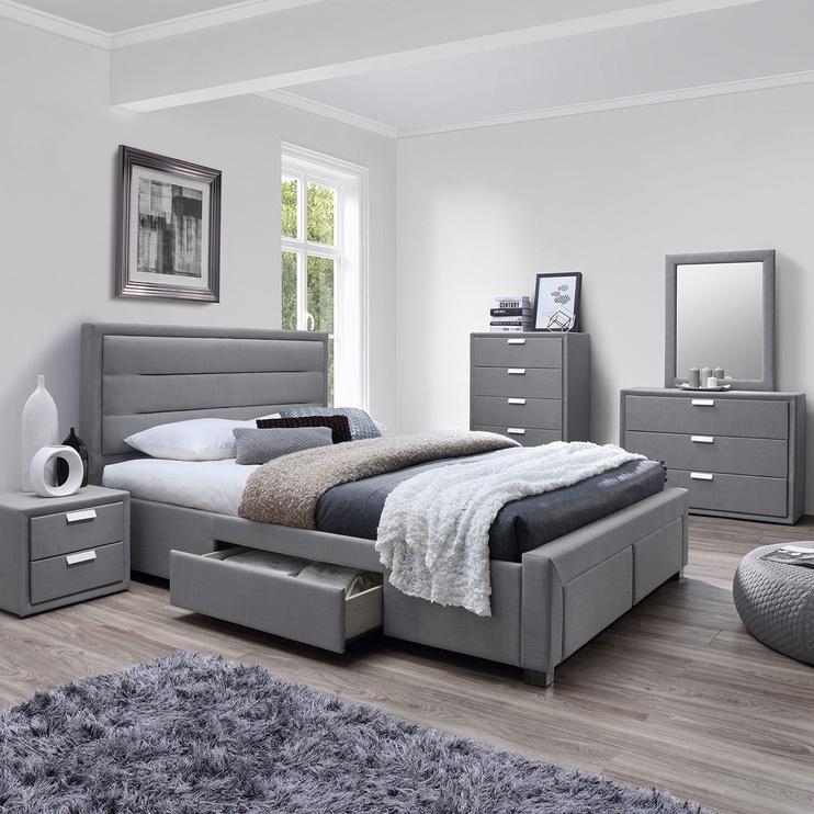 Home4you Caren Bed w/ Mattress Olympia Top 160x200cm Grey