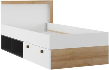Lova Szynaka Meble Riva 50 White/Riviera Oak/Black, 90 x 200 cm