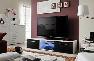 TV galds ASM Bono III White/Black Gloss, 1800x450x350 mm