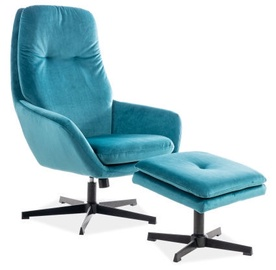 Signal Meble Ford Velvet Chair With Footrest Turquoise