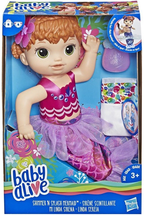 Hasbro Baby Alive Shimmer & Splash Mermaid Red Hair E4410