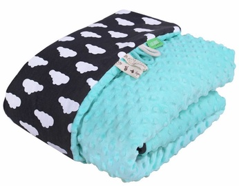 Lulando Minky Baby Blanket Mint/Black With Clouds 80x100cm