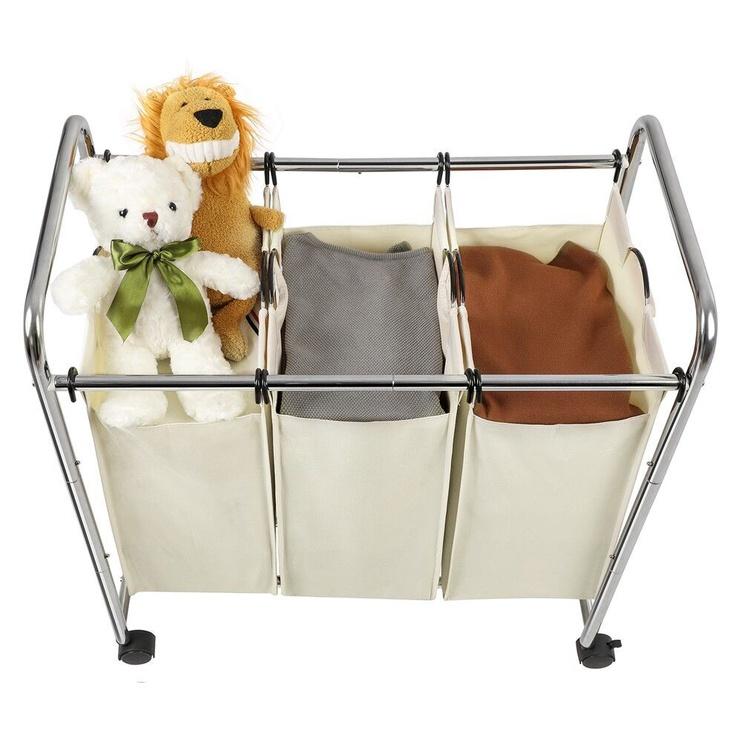 Songmics Laundry Cart 3 Bags White