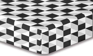 Palags DecoKing Hypnosis, melna/pelēka, 220x240 cm, ar gumiju