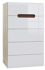 Black Red White Chest Of Drawers Azteca Trio KOM5S White/San Remo Oak