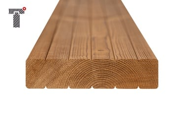 Rifliuota termo medienos terasos lenta,  300x11.5x2.6 cm,  3 vnt.