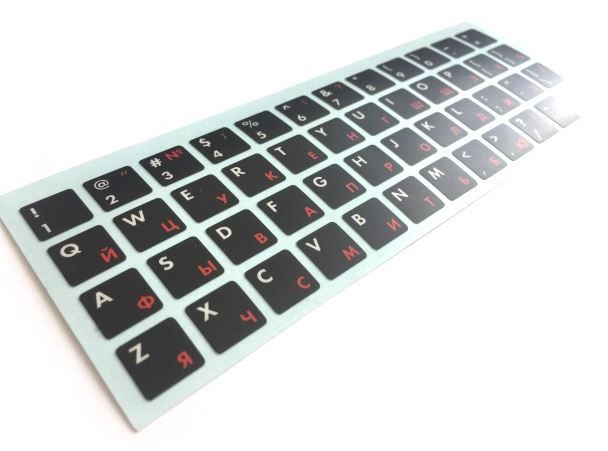 HQ Keyboard Stickers ENG/RUS White/Red/Black