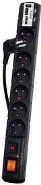 Acar Surge Protector USB 6 Outlet Black 1.5m