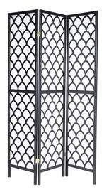 Home4you Oriental Folding Screen w/ 3 Panels Black