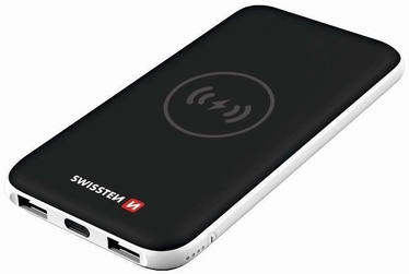 Swissten Slim Recovery Power Bank QI Charger 8000mAh Black